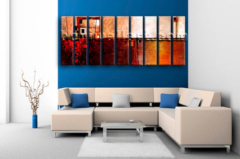 Huge Contemporary Abstract Painting Picture Art 9 Pieces Canvas Print