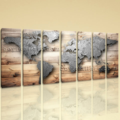 Extra Large World Map Wall Art Oil Painting Seven Panels Canvas Print