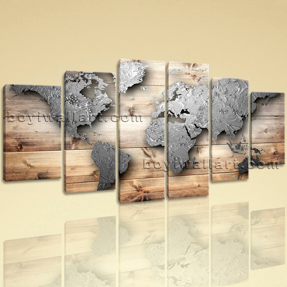 Extra Large Contemporary World Map Painting Oil Dining Room Six Pieces Prints