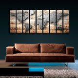 Huge Contemporary World Map Print Canvas Art Living Room Nine Pieces