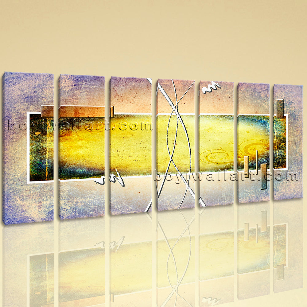 Extra Large Abstract Painting Picture Wall Art Heptaptych Panels ...