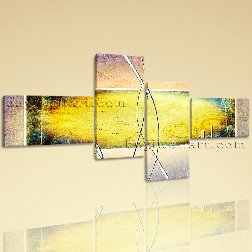 Extra Large Contemporary Abstract Painting Wall Art Decor Four Pieces Print