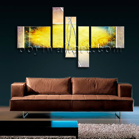 Huge Abstract Painting Picture Canvas Art Living Room Pentaptych Pieces Prints