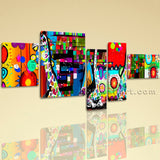 Extra Large Abstract Painting Canvas Art On Bedroom Pentaptych Pieces Prints
