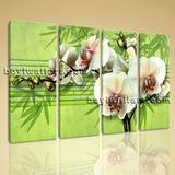 Large Abstract Floral Wall Art Orchid Flower Canvas Modern Four Panels Print