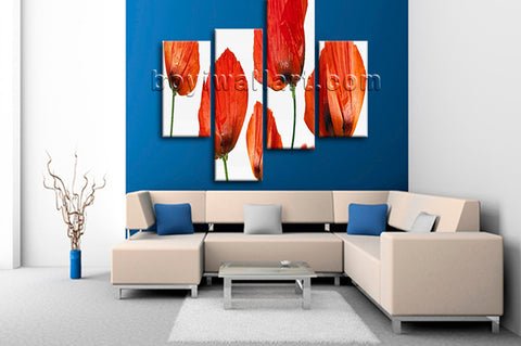 Large Poppy Flowers Wall Decor Modern Home Bedroom Tetraptych Pieces Print