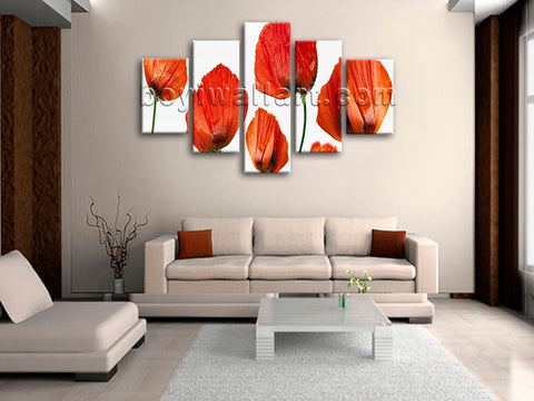 Large Poppy Flowers Print Modern Wall Decor Dining Room 5 Pieces Art