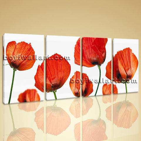 Large Poppy Flowers Painting Modern Art Bedroom Four Panels Giclee Print