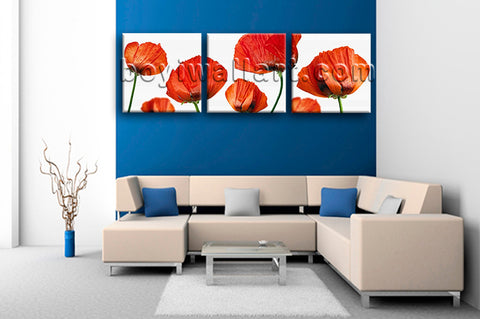 Large Poppy Flowers Wall Art Modern Decor Bedroom 1 Pieces Giclee Print