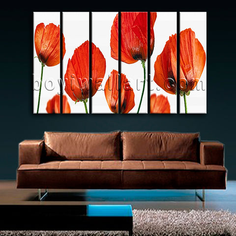 Large Poppy Flowers Wall Decor Modern Art Living Room 6 Pieces Prints
