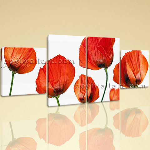 Large Poppy Flowers Wall Art Modern Dining Room Tetraptych Panels Print