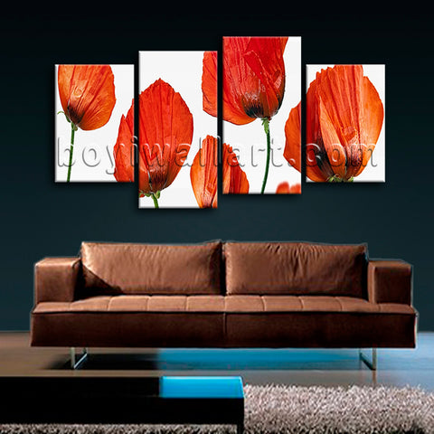 Large Poppy Flowers Wall Art Modern Oil Painting Living Room 4 Pieces Prints