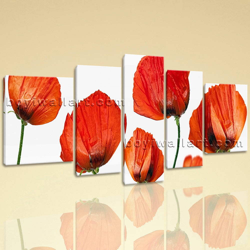 Extra Large Poppy Flowers Picture Modern Home Decor Living Room 5 Panels Prints