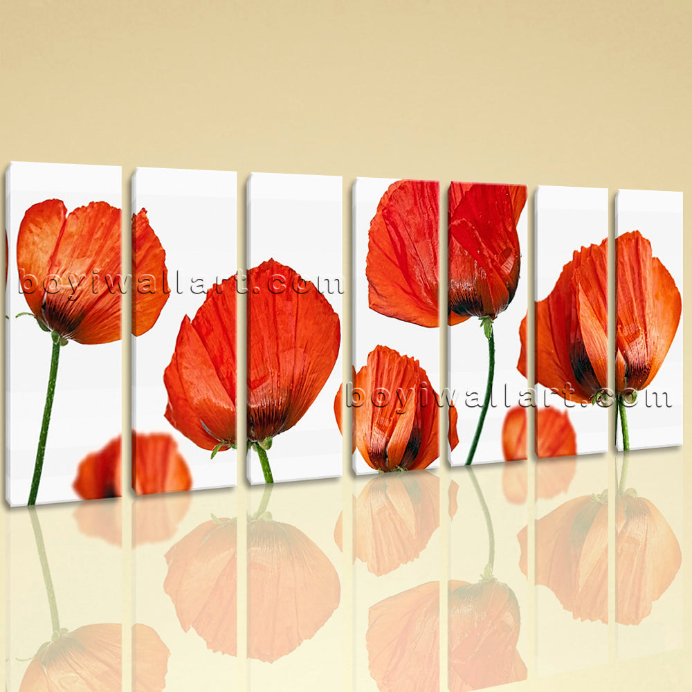 Extra Large Poppy Flowers Print Modern Home Decor Heptaptych Pieces Canvas