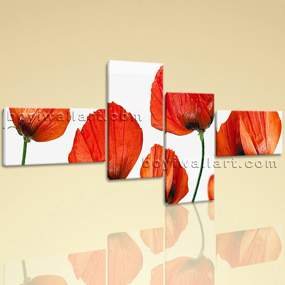 Extra Large Poppy Flowers Hd Print Modern Canvas Art Bedroom Tetraptych Pieces