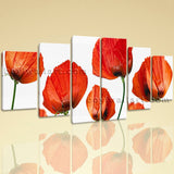 Extra Large Poppy Flowers Hd Print Modern Art Painting Dining Room Six Pieces
