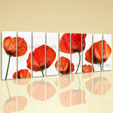 Huge Poppy Flowers Wall Decor Modern Living Room Nine Panels Canvas Print