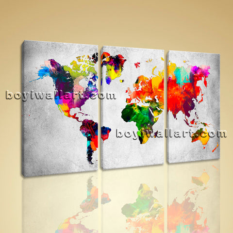 Large Retro World Map Hd Print Contemporary Art Painting Bedroom Triptych Panels