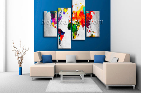 Large Retro World Map Wall Decor Contemporary Home Bedroom Four Pieces Art Print