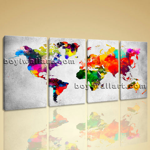 Large Retro World Map Wall Art Contemporary Painting Bedroom Print