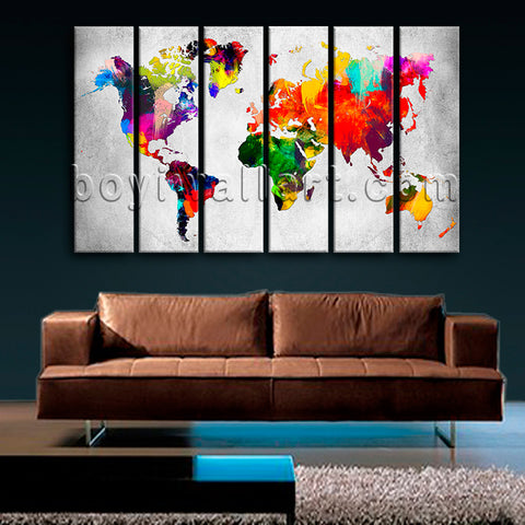 Large Retro World Map Canvas Art Contemporary Wall Decor 6 Panels Prints