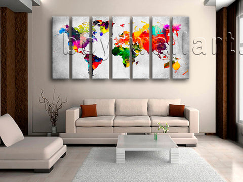 Extra Large Retro World Map Hd Print Contemporary Painting 7 Panels Giclee