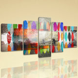Extra Large Abstract Painting Picture Wall Art Living Room Five Panels Print