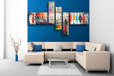 Huge Contemporary Abstract Painting Picture Canvas Art Five Panels Print
