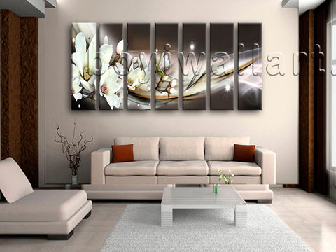 Extra Large Modern Abstract Floral Wall Decor Art Heptaptych Panels Print