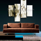 Large Modern Abstract Floral Print Oil Painting Bedroom 4 Panels