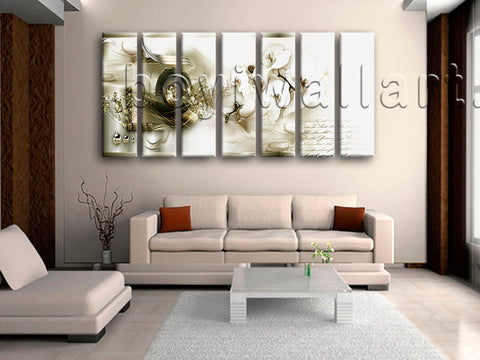 Extra Large Modern Abstract Floral Hd Print Painting Living Room 7 Pieces Giclee