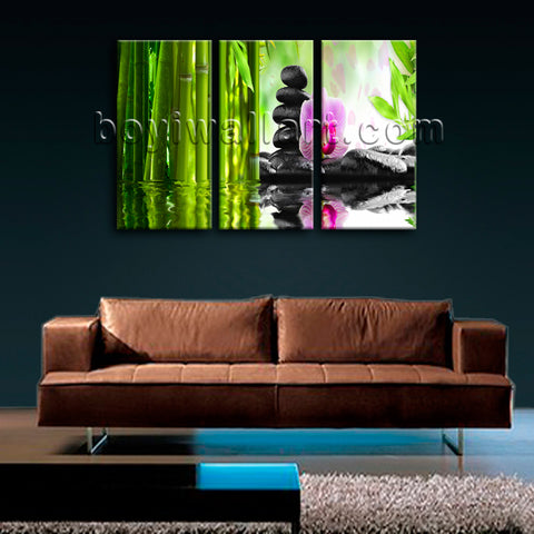Large Relaxing Spa Feng Shui Floral Wall Decor Modern Canvas Art 3 Pieces Prints