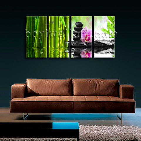 Large Relaxing Spa Feng Shui Floral Wall Art Modern Bedroom 4 Pieces Print