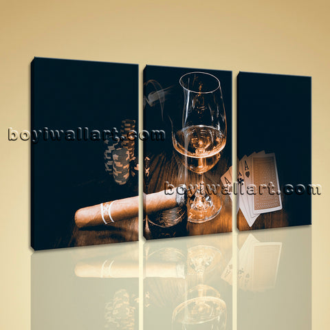 Large Scotch And Cigar Food Beverage Wall Art Retro Home Decor 3 Pieces Prints