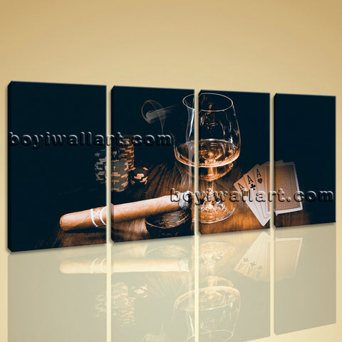 Large Scotch And Cigar Food Beverage Print Retro Oil Painting 4 Pieces Prints
