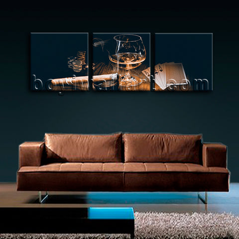 Large Scotch And Cigar Food Beverage Hd Print Retro Painting Triptych Panels Art