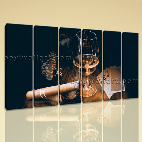 Large Scotch And Cigar Food Beverage Hd Print Retro Painting Six Panels Art