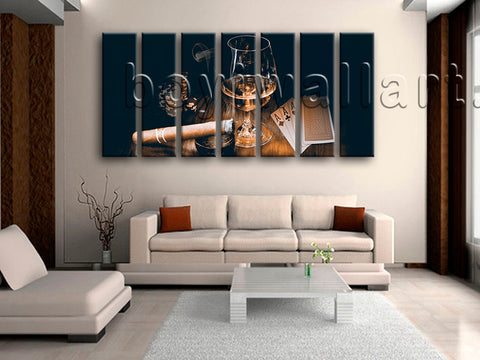 Extra Large Scotch And Cigar Food Beverage Canvas Art Retro Oil Painting Print