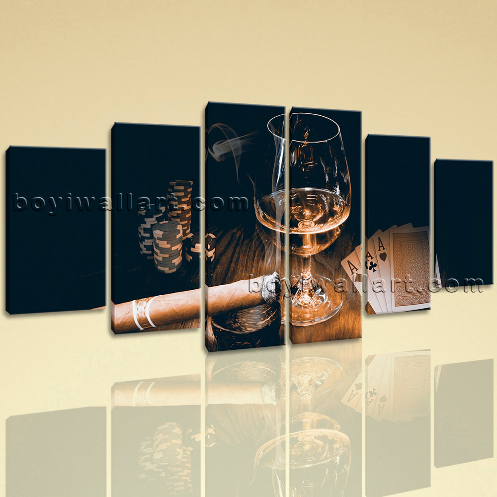 Extra Large Scotch And Cigar Food Beverage Canvas Art Retro Wall Decor Print