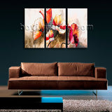 Large Abstract Poppy Flowers Painting Impressionist Oil Three Pieces Art Print