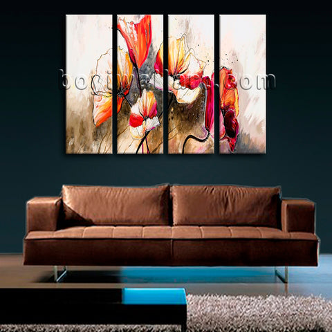 Large Abstract Poppy Flowers Canvas Art Impressionist Painting 4 Panels Print