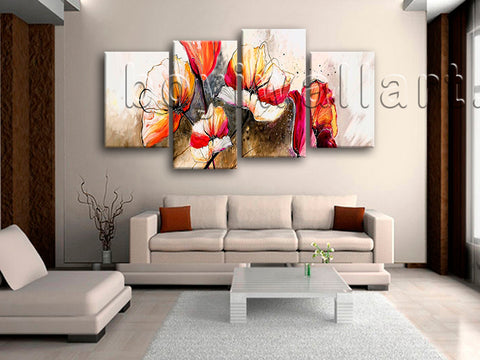 Large Abstract Poppy Flowers Canvas Art Impressionist Home Decor Print