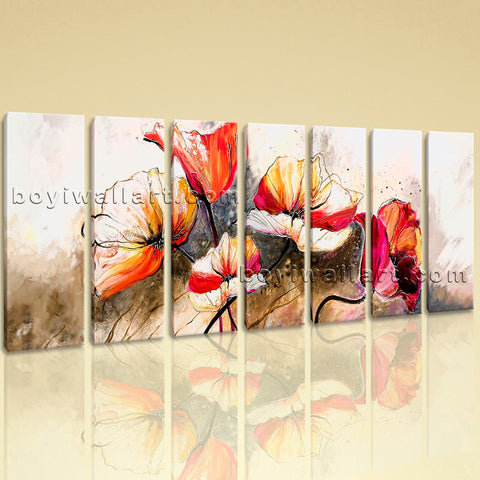 Extra Large Abstract Poppy Flowers Canvas Art Impressionist Prints