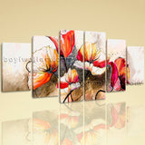 Extra Large Abstract Poppy Flowers Painting Impressionist Canvas Art Prints