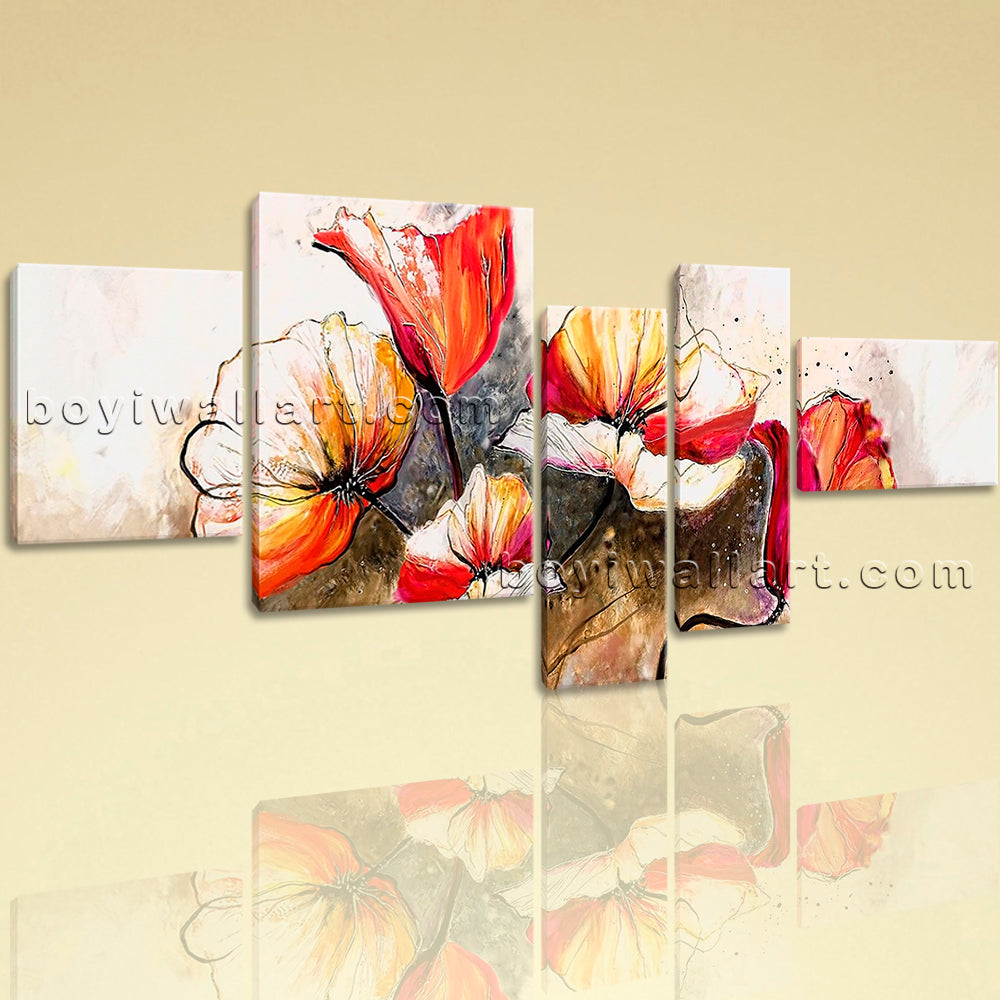 Extra Large Abstract Poppy Flowers Painting Impressionist 5 Panels Art Print