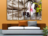Large Modern Abstract Floral Painting Home Decor Living Room Six Panels Print