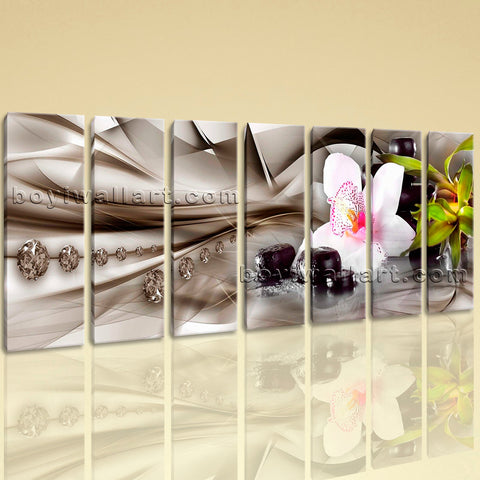 Extra Large Modern Abstract Floral Picture Painting Heptaptych Pieces Art Print