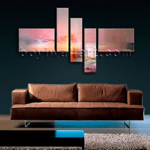 Huge Contemporary Abstract Painting Picture Living Room Pentaptych Panels Print