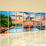Extra Large Fernsehturm Berlin Landmarks Painting Home Decor Seven Panels Print