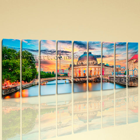 Huge Fernsehturm Berlin Landmarks Wall Decor Painting Living Room 9 Panels Print